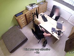 Loan4k. blondie sweetie with ponytail is possessed by loan boss for cash