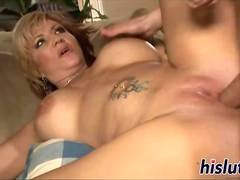 Sinful cougar rides on a bulky member