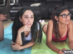 Mia's Video Game Night - foursome handjob, blowjob and cowgirl fuck with young Arab teen