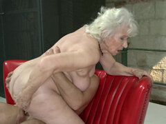 Horny granny Norma is always down for some young cock up her pussy