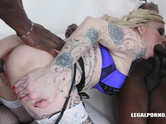 Inked MILF whore interracial double anal