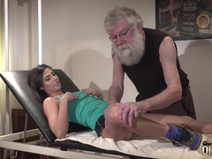 Bearded man wants a pussy and fucks injured girl