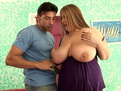 Rotund rookie blonde with big wet jugs gets rammed hard