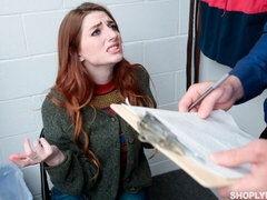 Shoplifter Aria Carson shows her skills in the back office