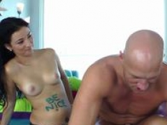A duo gorgeous chicks seduce bald guy into getting drilled by their strapons