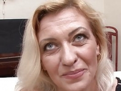 Sinful blonde grandma takes two loads on her face