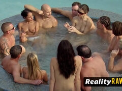 After knowing one another sexual fantasies, couples meet in the Red Orgy Room - real swingers party