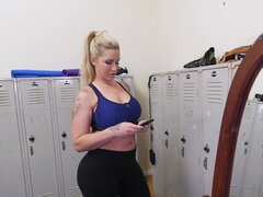 Thick mature fucks young Spanish boy in the locker room