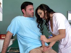 A hot nurse is taking care of the patients boner in the office
