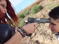Busty bossy redhead PAWG fucks a nerdy dude outdoors an gun point