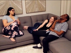 Interracial threesome with two busty PAWG babes - big natural tits