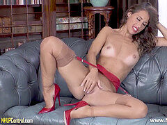 killer brown-haired fingering tight pussy in garters nylons high-heeled shoes