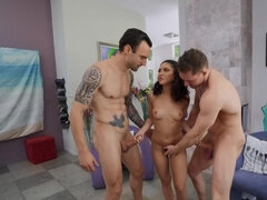 Fragile nymph banged by two hung stallions in all holes