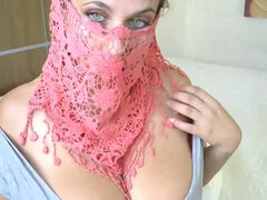 Slutty Muslim girl with big bust on webcam