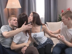 Teen russian libertines foursome sex
