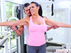 Reagan Foxx - Busty MILF loves fucking young muscled stud in gym