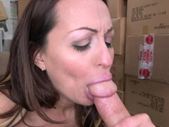 Milf Vanessa Luna blows and rides the dick for a fresh mouthful
