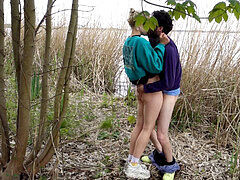 Outdoor unclothe and fuck by the lake with phat popshot in her face