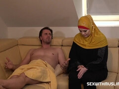 Muslim man meat teaser with a head scarf, Alexa Bold is gargling and pounding like a hoe