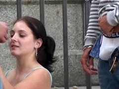 Public sex with a gorgeous young-looking kitten in the city center by the notable statue Extremely First-class