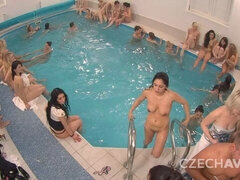 Sex party in the pool with the hottest long-legged angels