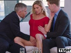 Suited guys share tight pussy of Jessa Rhodes