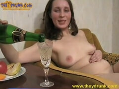 Slutty milf Judith is sliding cunt on champagne bottle