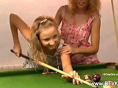 Broads licking on the billiards table