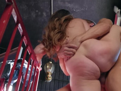 Depraved lady is being fucked on the staircase by a gifted stud