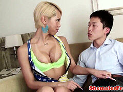 buxom asian tgirl rides meaty trouser snake
