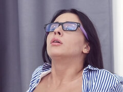 Hot nerdy babe is being mouthfucked by her kinky professor