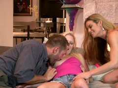 Babysitting Elaina Raye seduced by a couple for hot sex