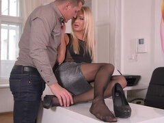 Flexible Distraction - Foot Fetish Lover Licks Babe in Office