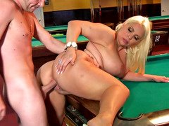 Chunky blonde floozy fucked on the pool table so well