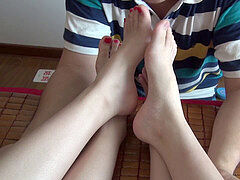 2 High college Friends Came to My Place and Gave Me an Awesome Footjob after Licking Their soles