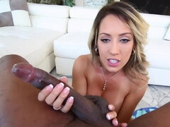 After blowjob blonde MILF nicely jumps on massive black bulge