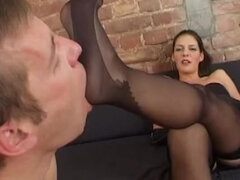 Foot slave smelling & sucking nylons stockings feet
