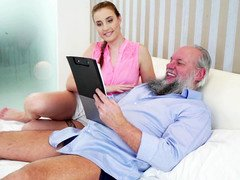 Young and fresh beauty seduced dirty pervert grandpa
