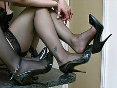 Sexy girls in nylon underwear and furthermore cock teaser high heel shoes
