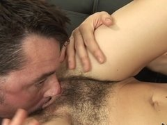 A hirsute aged female is getting her fuck hole penetrated deeply