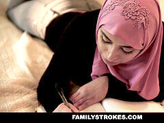 FamilyStrokes - busty dame rides Fat Cock In Hijab