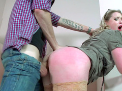 Kinky blonde is getting fucked in the public toilet stall