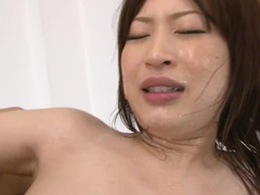 Slender Japanese whore is ready to welcome two penises in her slits