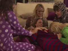 Lesbian slumber party is filled with lots of hot licking