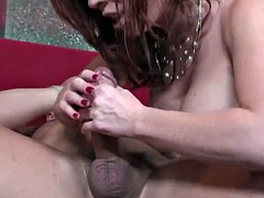 Bald dude is fucking a milf shaved redhead