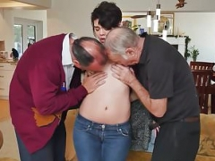 Teenage beauty trio with pervert oldguys
