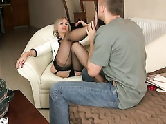 Mature nylon footjob and hand job 8