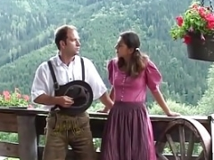 german couple has an intercourse in the mountains