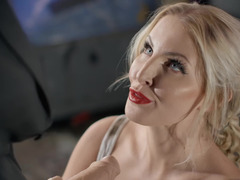 A blonde bitch bends over and she is fucked from behind really hard