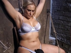 Breasty blonde bdsm sub spanked & toyed